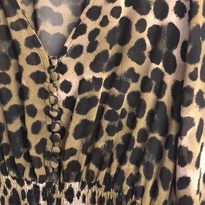 H&M Dresses - H&M OLIVE GREEN/BLK LEOPARD MAXI DRESS